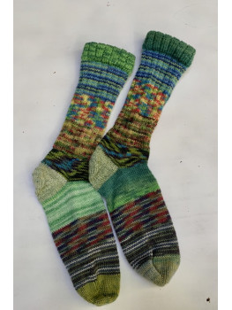 Crazy Sock, River of Green, Various Yarns. Cuff Length