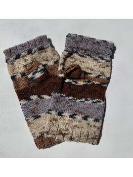 Sand and Rocks, No Wool, Fingerless Gloves, Hemmed Cuff