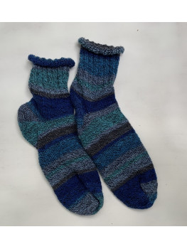 Ocean Waves, Superwash Wool and Nylon, Ankle Sock