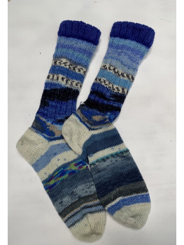Crazy Sock Blues, Various Yarns, Cuff Length