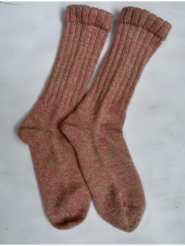 Raspberry Creme, No Wool, Cuff Length Sock