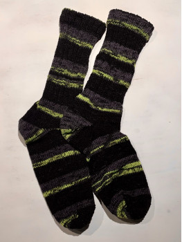 Northern Lights Yellow, No Wool, Acrylic Cuff Length Sock