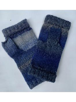 Bluegill, Superwash Wool and Nylon, Fingerless Gloves, Hemmed Cuff