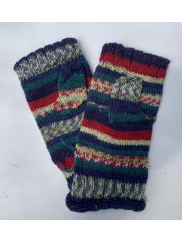 Christmas Up North, Superwash Wool and Nylon, Fingerless Gloves