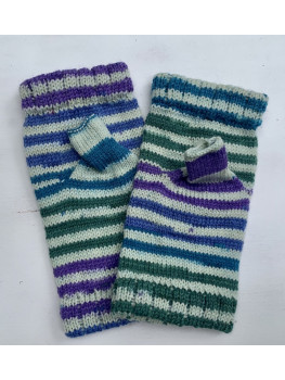 Berry Bush, Superwash Merino Wool, Bamboo and Nylon, Fingerless Gloves, Hemmed Cuff