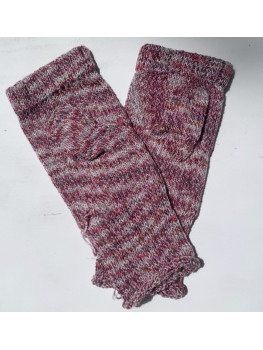 Cranberry, Soy Silk, Superwash Wool and Nylon, Fingerless gloves