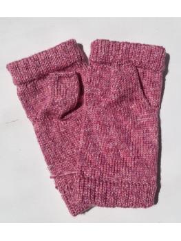 Pink Orchid, No Wool, Fingerless Glove, Hemmed Cuff