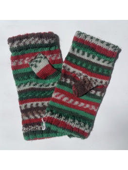 Christmas Tree, Superwash Wool and Nylon, Fingerless Glove, Hemmed Cuff