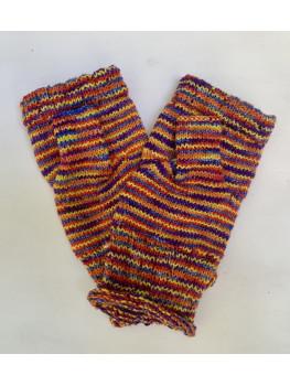 Rainbow Over Kaubashine, Superwash Merino Wool and Nylon, Fingerless Gloves