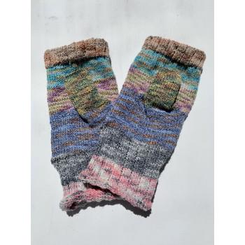 Scrappy Rainbow, Superwash Wool and Nylon Fingerless Gloves