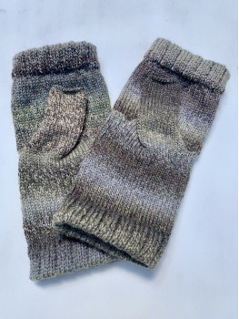 Greywolf, Superwash Wool and Nylon Fingerless Gloves Hemmed Cuff
