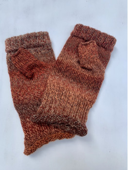 Fox Tail, Superwash Wool and Nylon Fingerless Glove, Rolled Hem