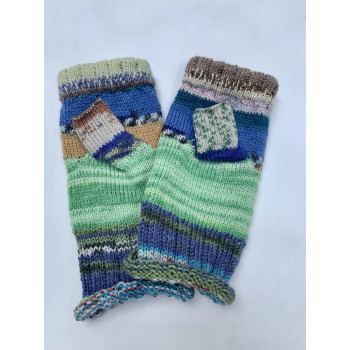 Aunt Marge's Patchwork, Superwash and Nylon Fingerless Gloves
