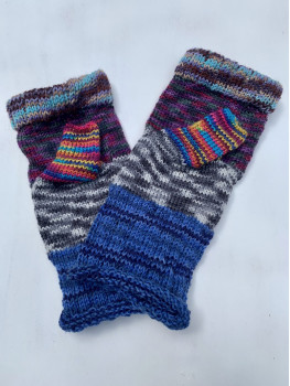Grandma's Patchwork, Superwash Wool and Nylon Fingerless Glove