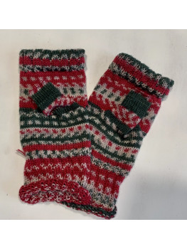 Holly Jolly Christmas, Superwash Wool and Nylon, Fingerless Gloves