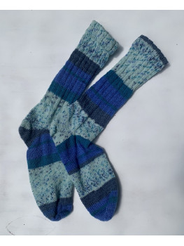 Blueberry Explosion, Superwash Wool and Nylon Cuff Length Socks