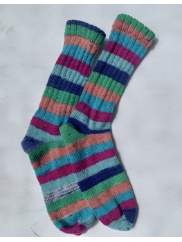 Caribbean Fun, Superwash Wool and Nylon Cuff Length Socks
