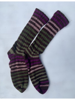 Agawak Stripes, Superwash Wool and Nylon Cuff Length Socks