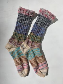 Scrappy Rainbow, Superwash Wool and Nylon Cuff Length Sock