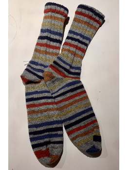 Everyones Favorite Stripped Wool Sock, Superwash Wool and Nylon, Cuff Length Sock