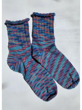 Sunset Ripples, Superwash Wool and Nylon, Ankle Socks